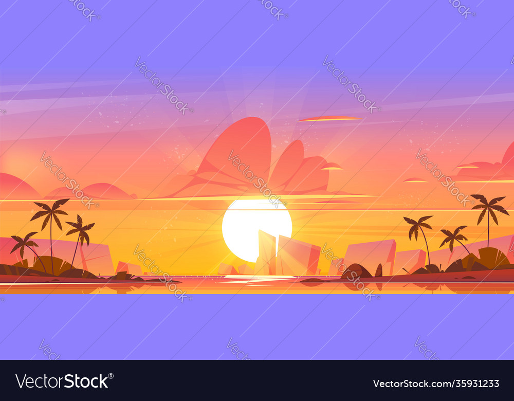 Sunrise sky in ocean on tropical island heaven
