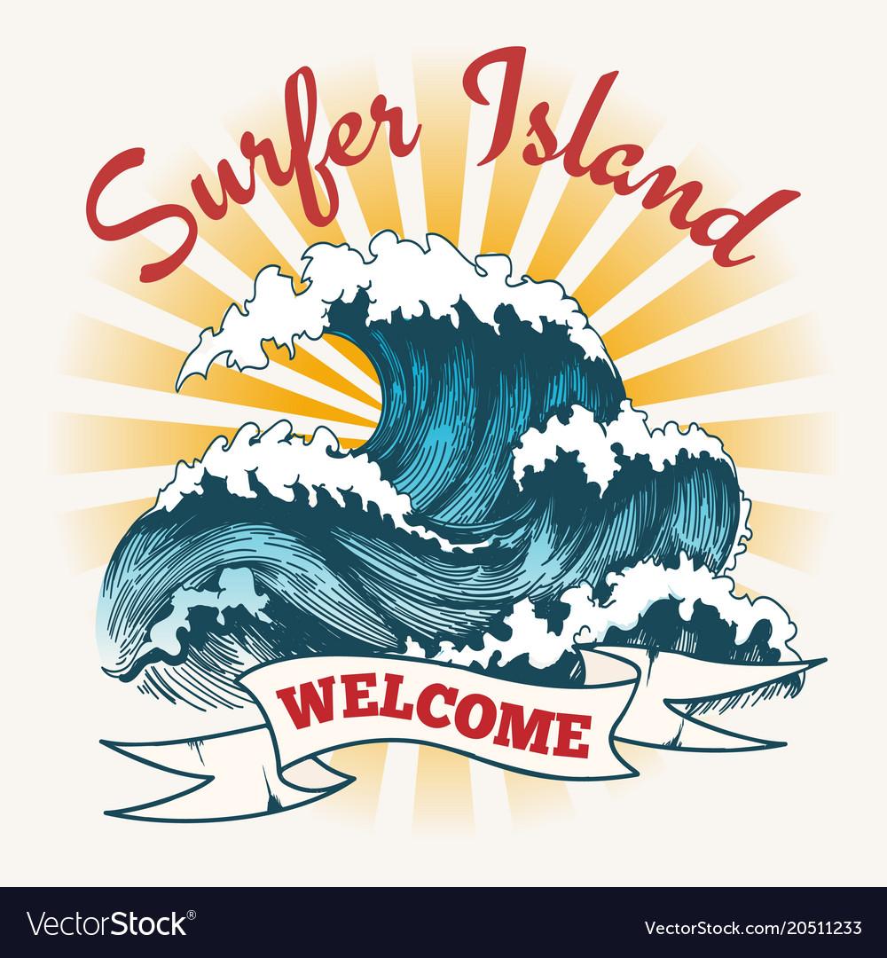 Surf wave vintage poster