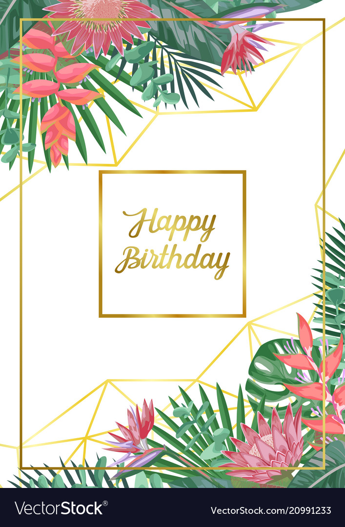 Tropical happy birthday card