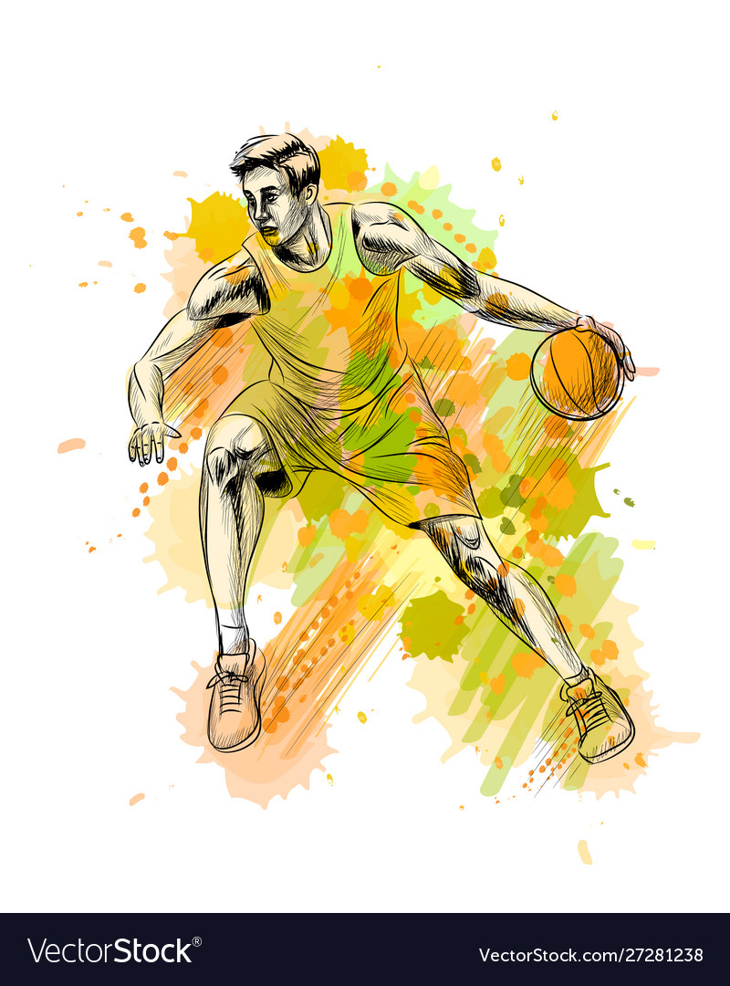Abstract basketball player with ball from a splash