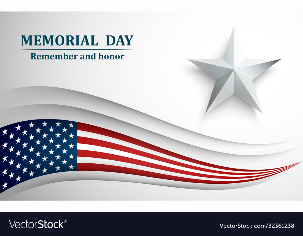 Banner for memorial day american flag with star
