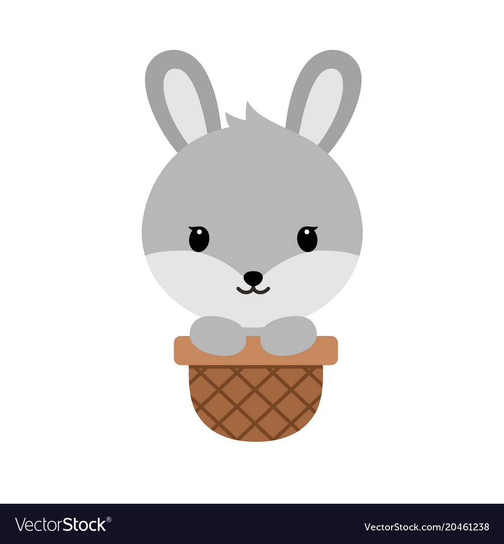 Cute cartoon bunnysitting in easter basket funny