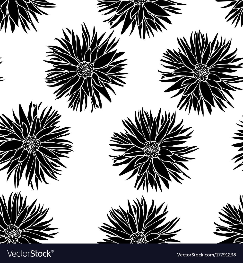 Dahlias flowers pattern seamless