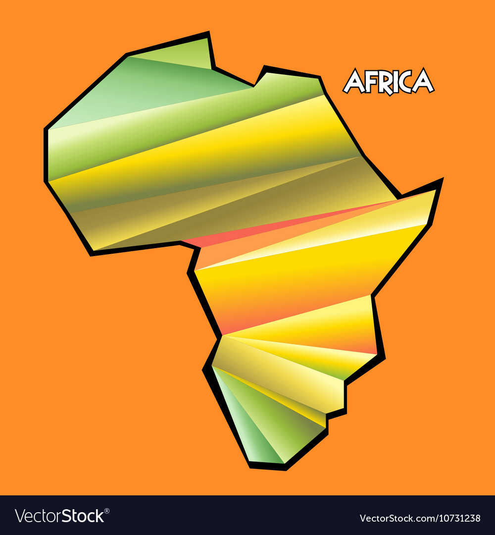 Digital africa map with abstract colored vector image