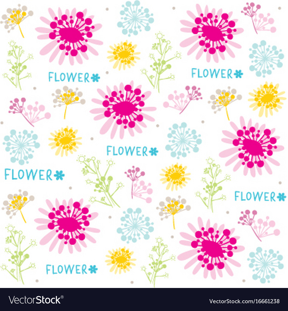 Flower cute cartoon vintage gift wrapping design v vector image