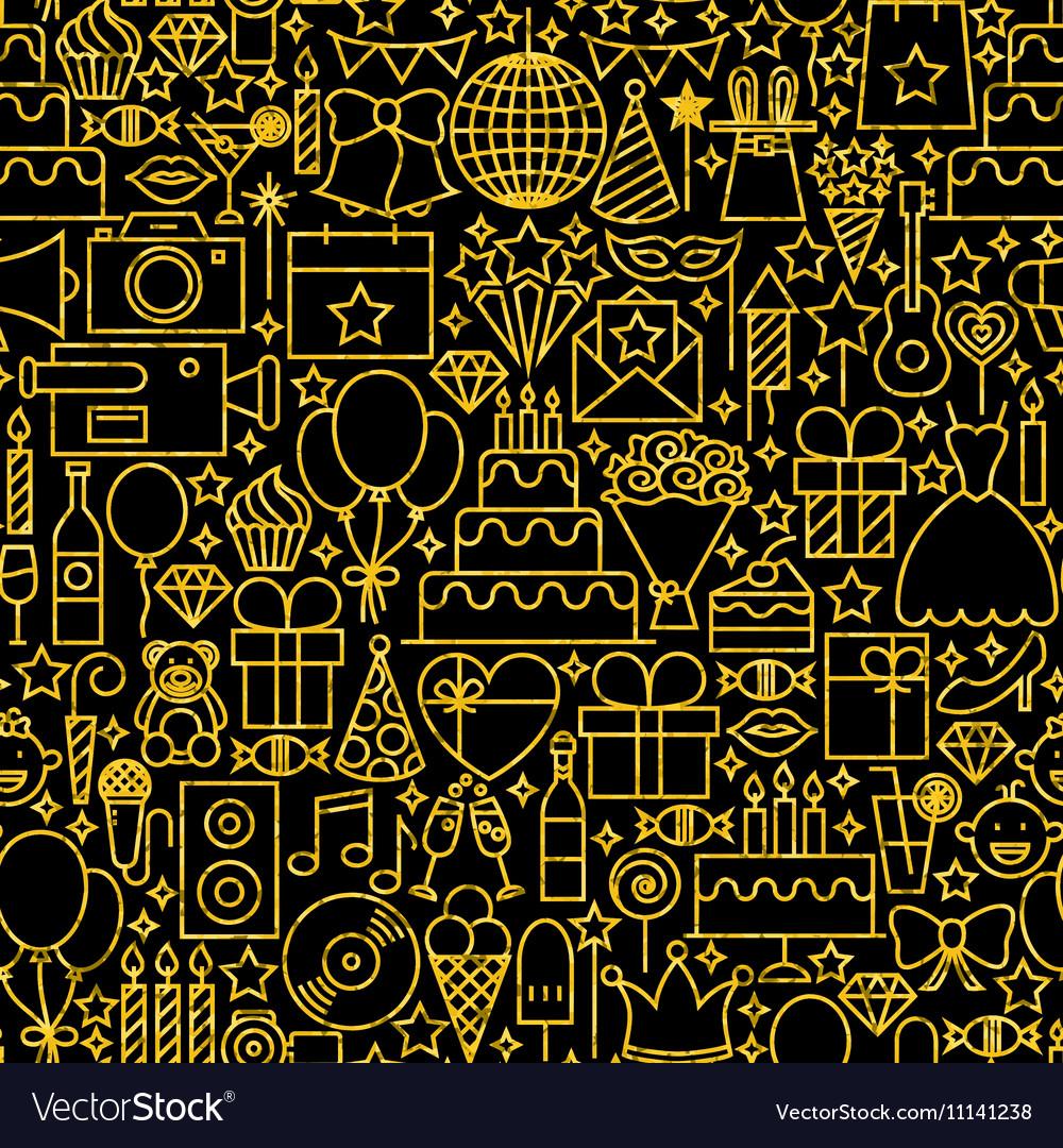 Line Gold Black Birthday Tile Pattern