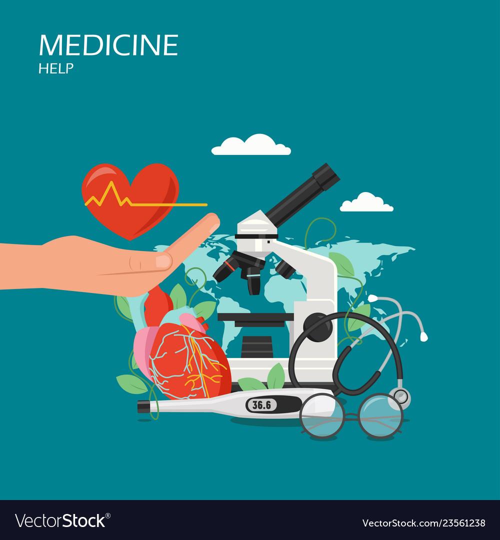 Medicine help flat style design