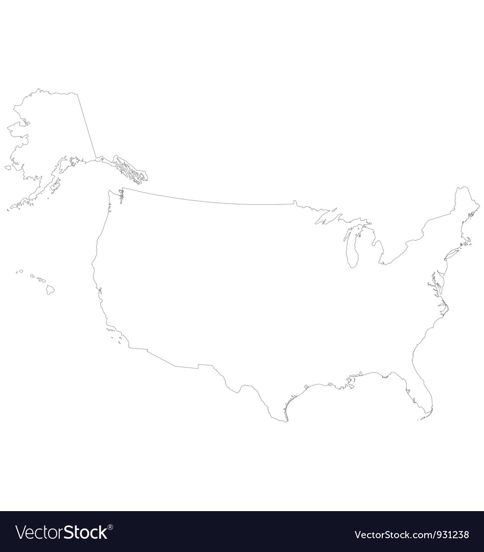 Outline map of the United States Of America