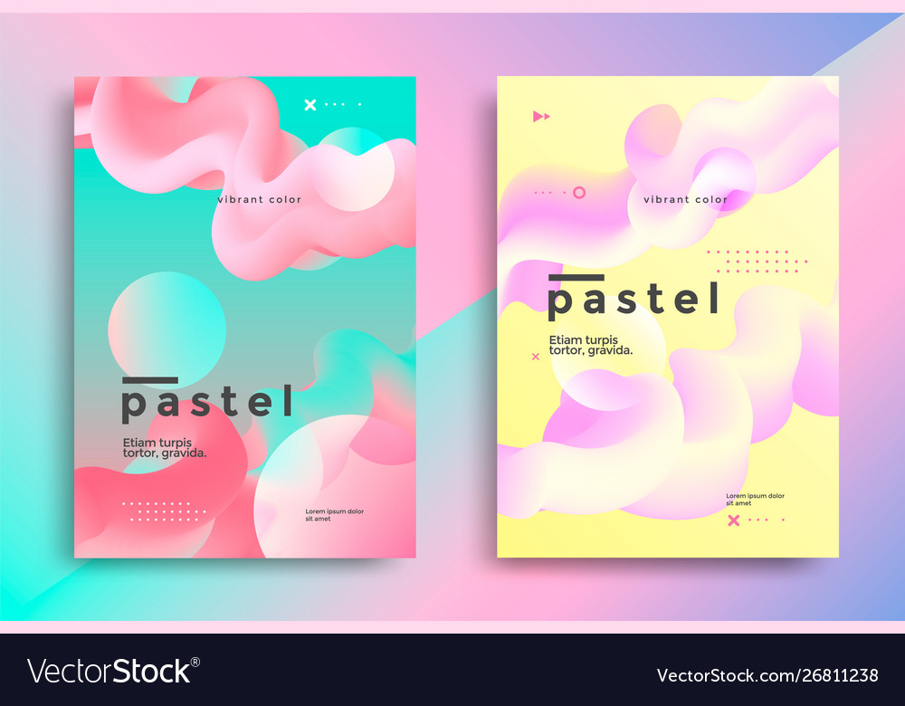 Pastel gradient covers design with fluid shapes