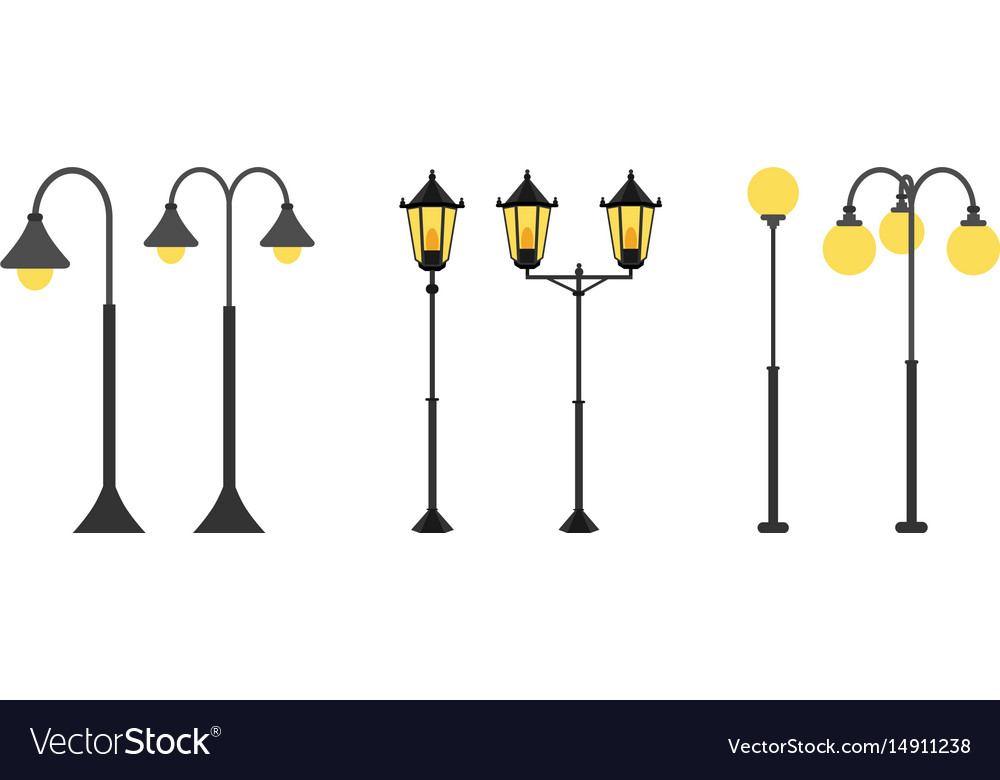 Set Flat Streetlights City Lamps Are Isolated On