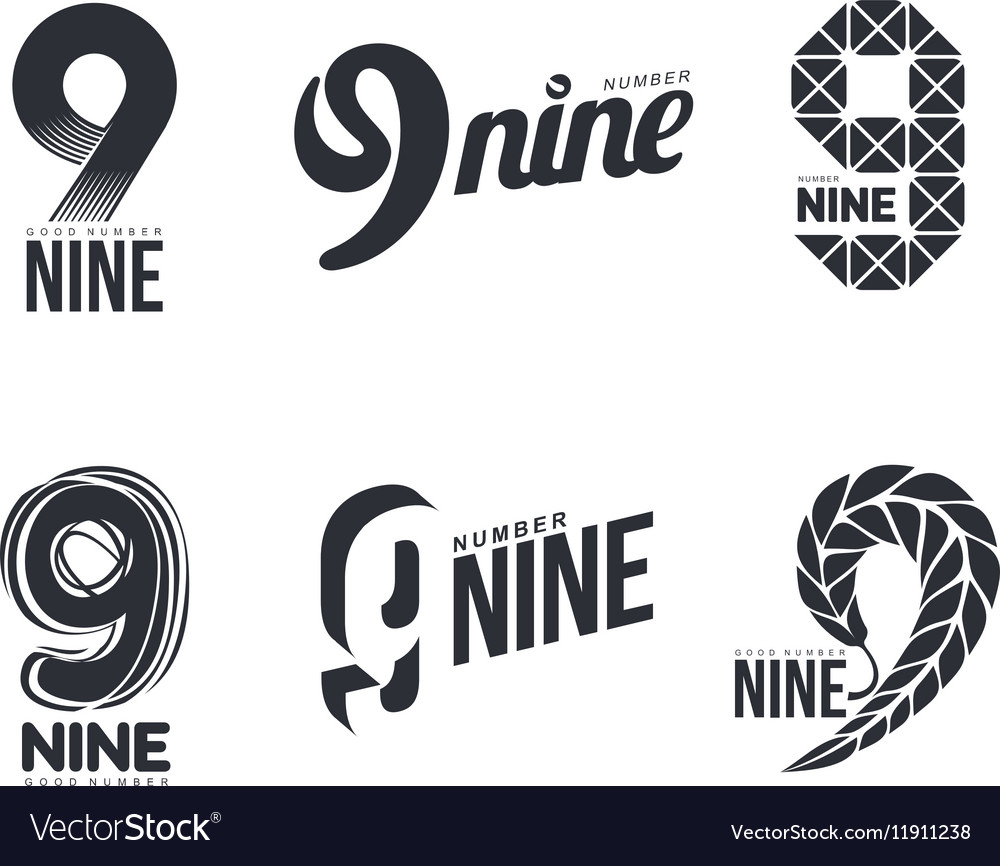 Set of black and white number nine logo templates