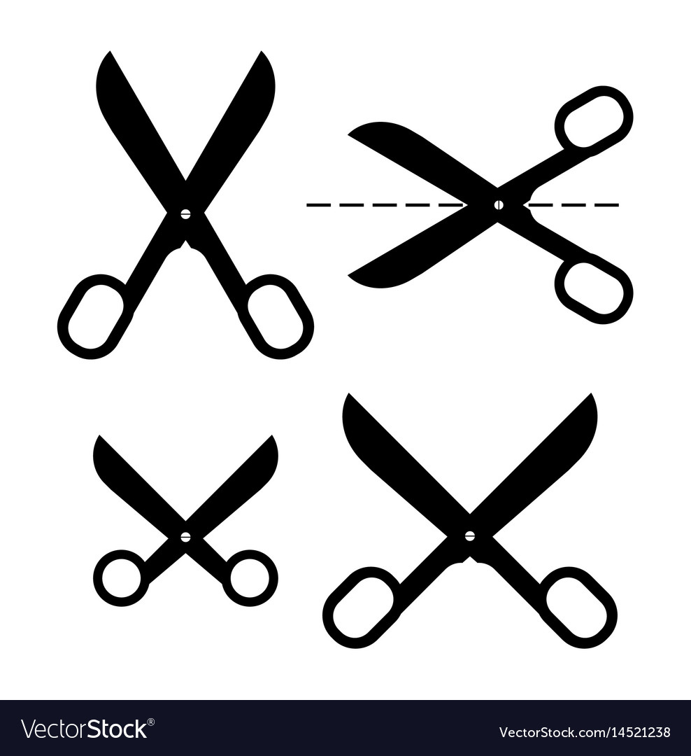 Set of different scissors silhouettes isolated