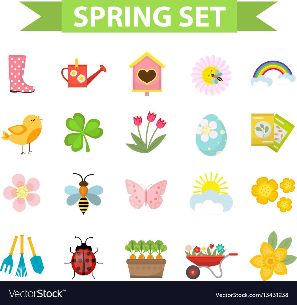 Spring icons set flat style gardening cute