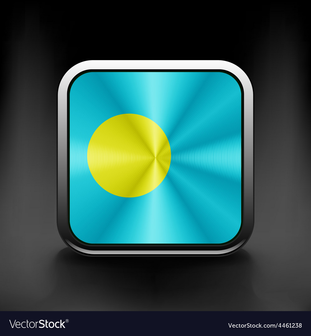 Square icon with flag of palau with reflection