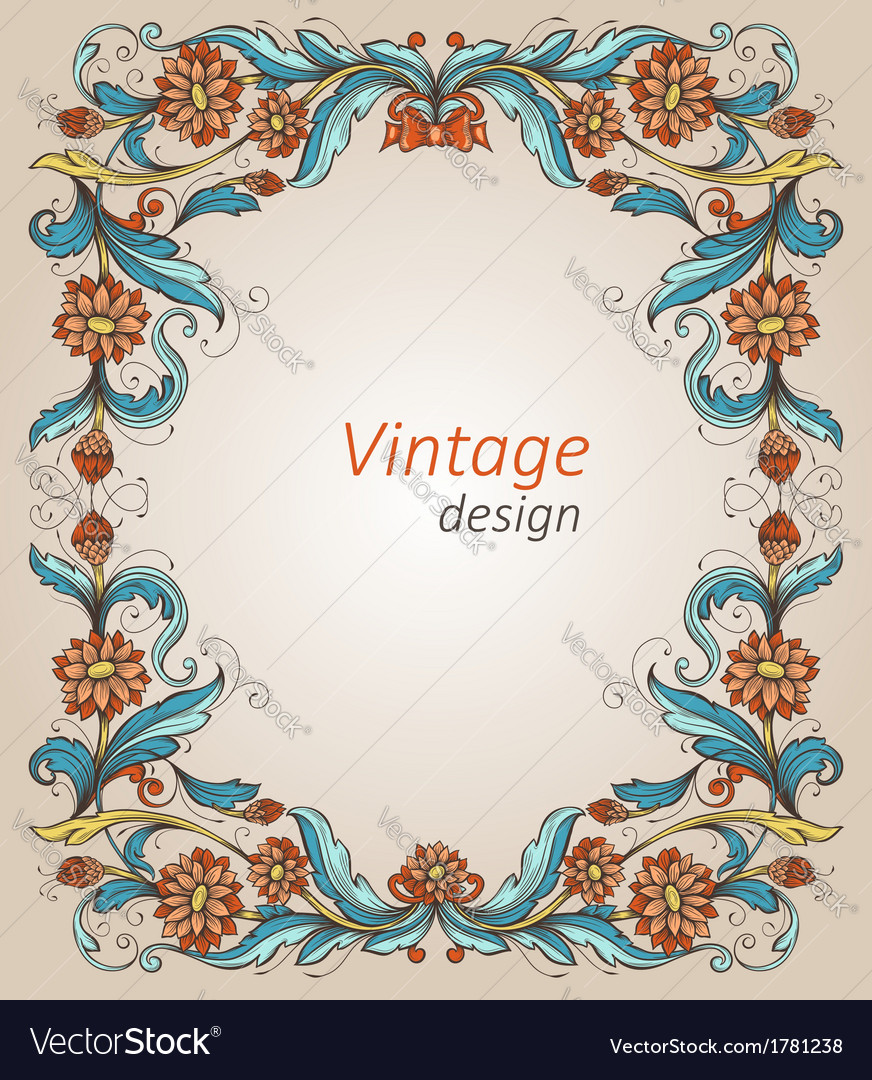 Vintage frame with decorative flowers vector image