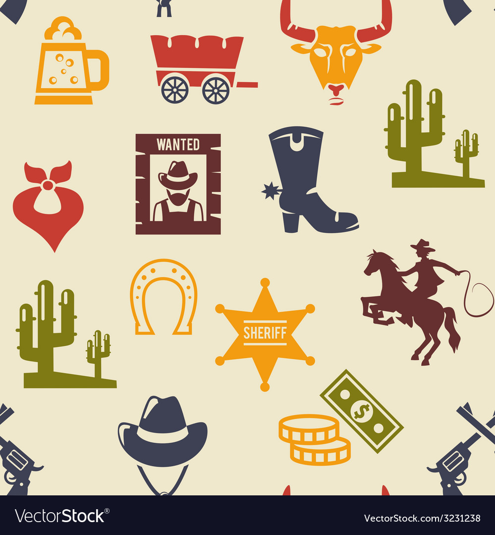 Western and rodeo seamless background pattern vector image