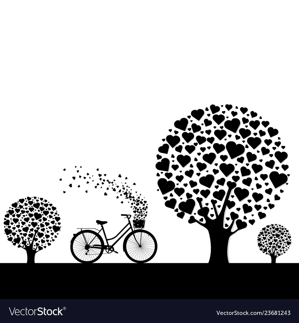 Black wood with hearts with bicycle