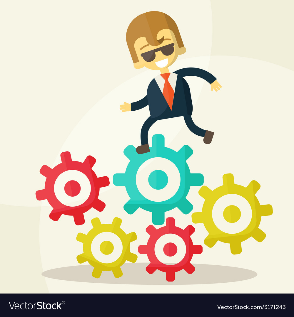 Businessman goes to success and gears