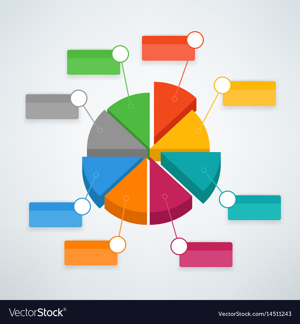 Color pie chart infographic template template for