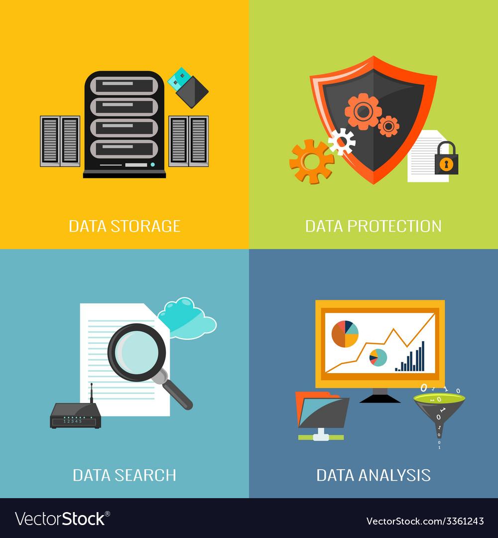 Database icons flat