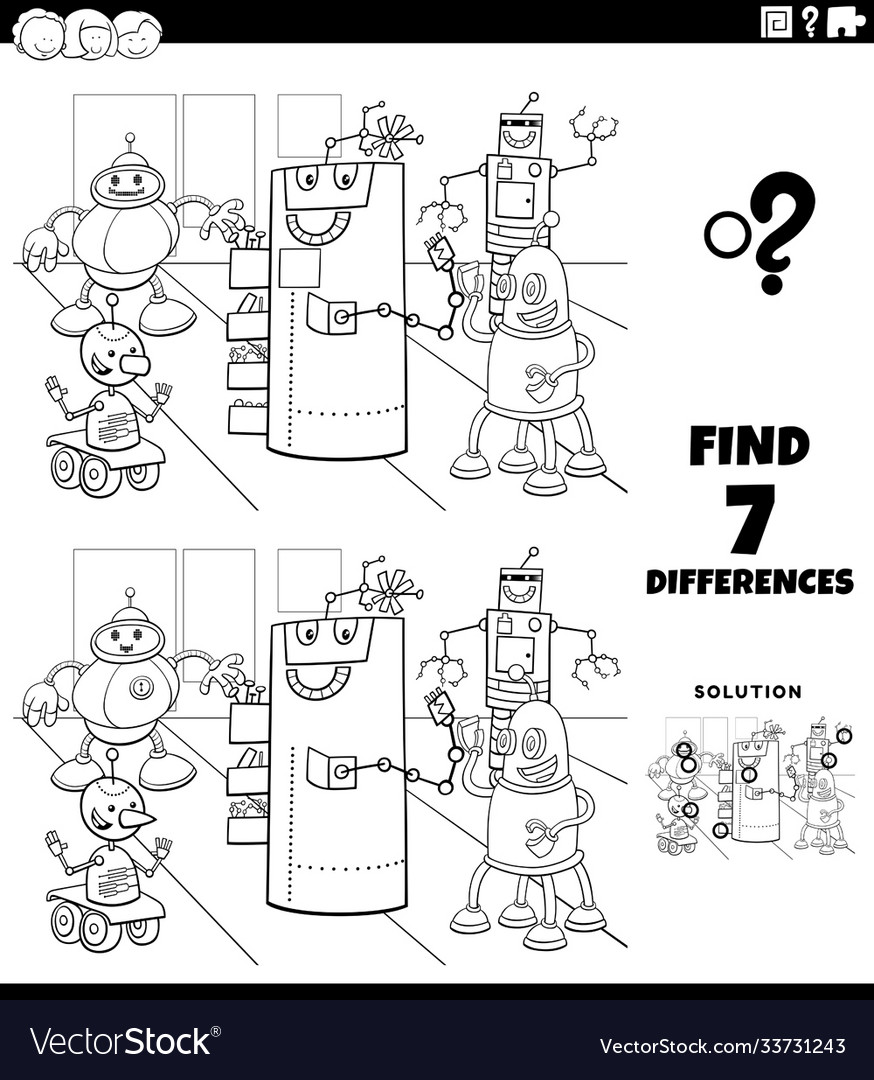 Differences educational game with robots coloring