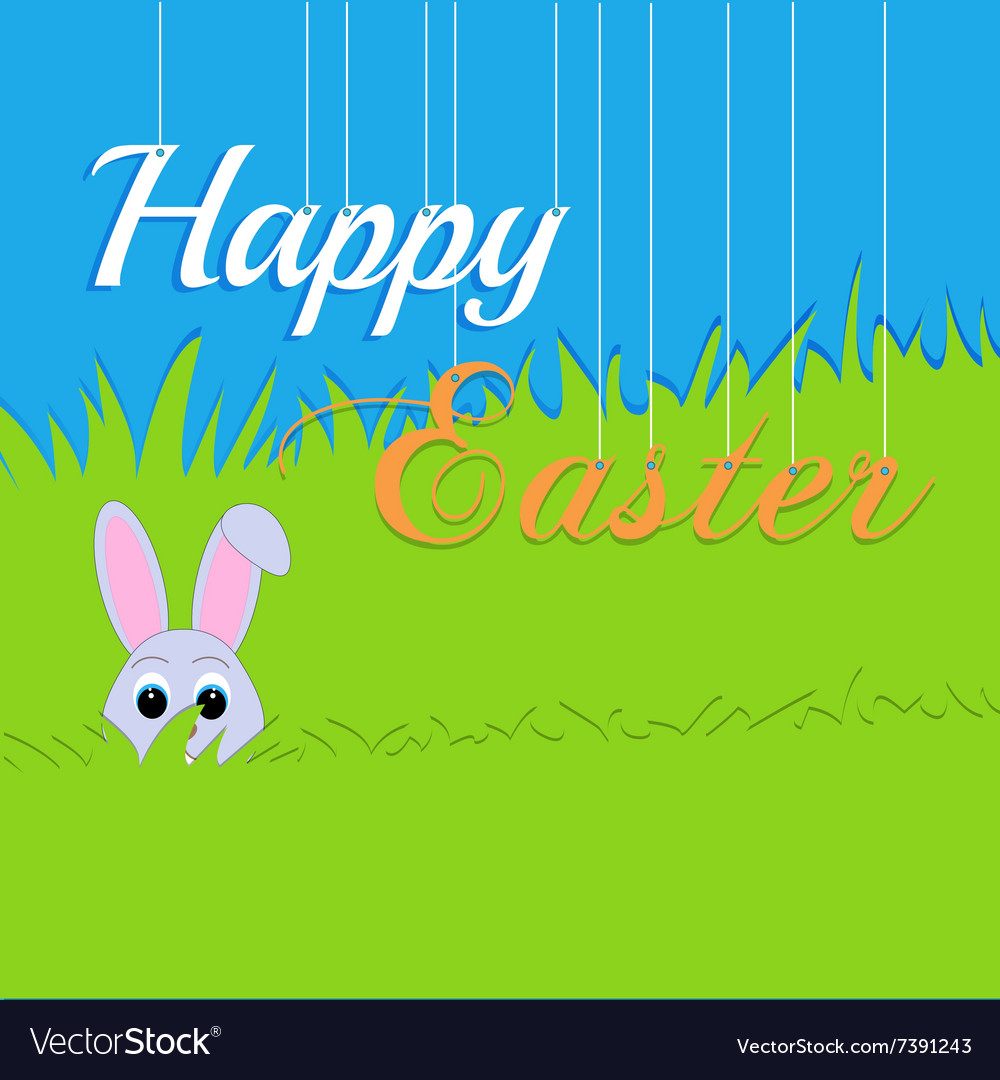 Easter rabbit and egg in grass