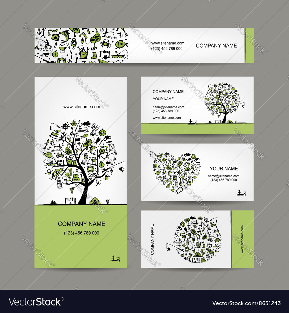 Fishing business cards set for your design vector image colourmoves
