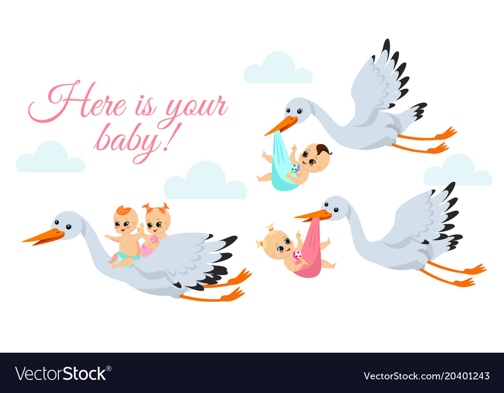 Happy flying storks with