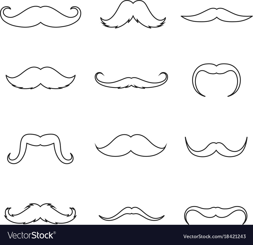 Mustache outline thin art set