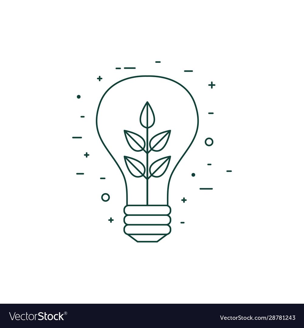 Plant inside light bulb line art icon