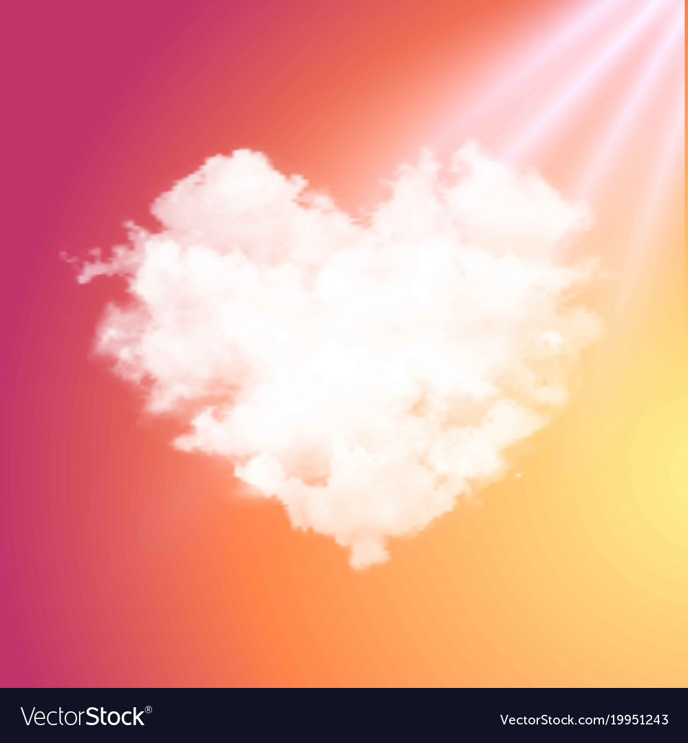 realistic cloud heart on beautiful sunset vector image