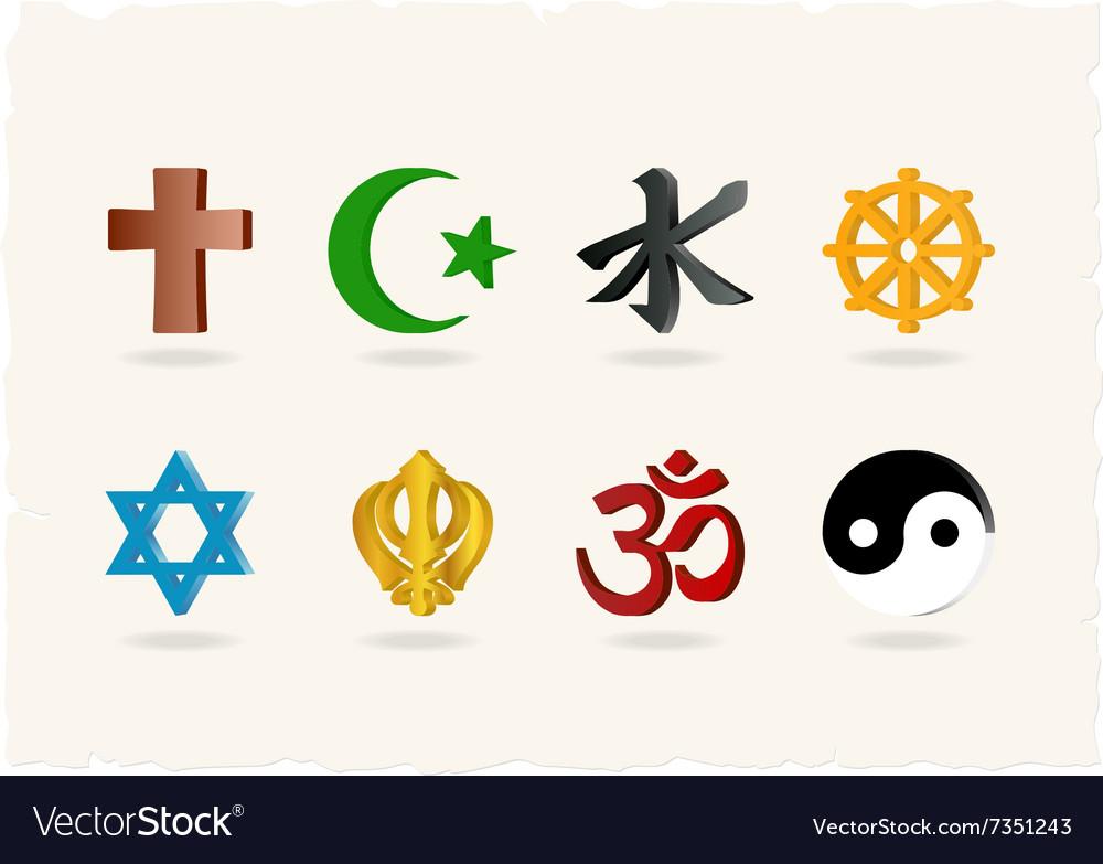 religion icons royalty free vector image vectorstock