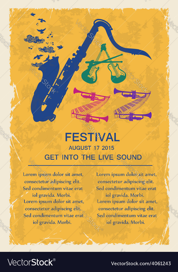 Retro jazz invitation with musical instruments vector image stopboris Image collections