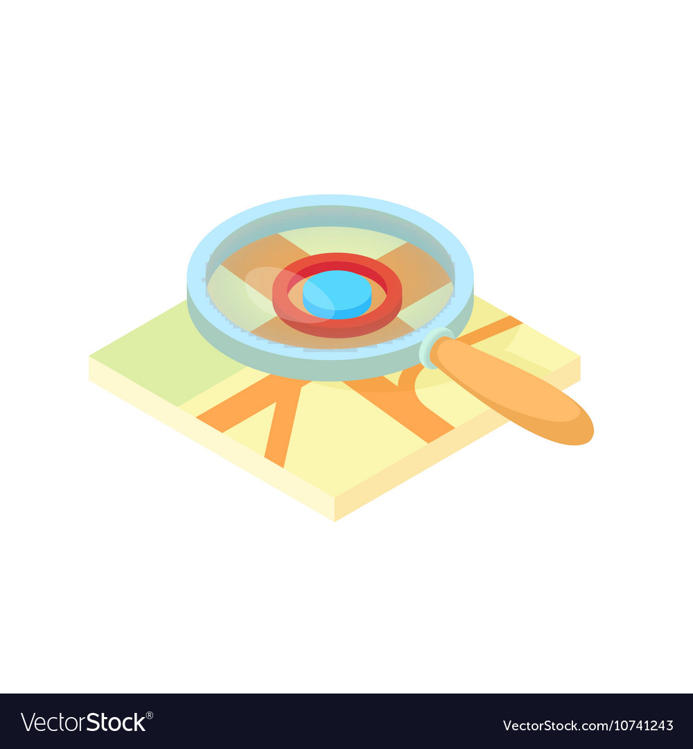 Search through a magnifying glass on map icon