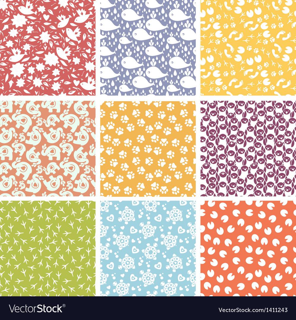 Set of nine cute elements seamless patterns