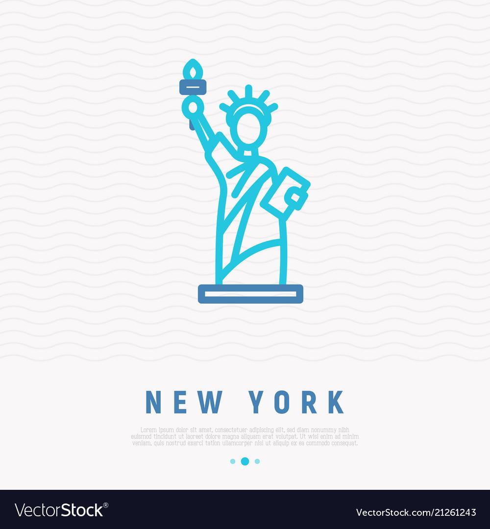 Statue of liberty thin line icon