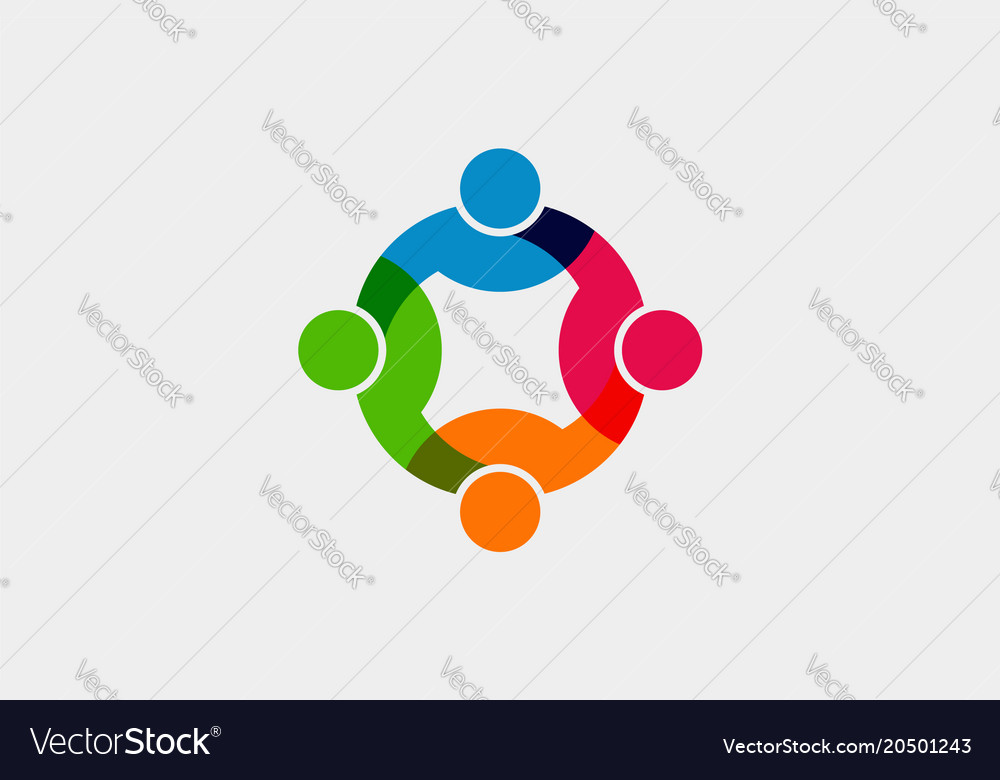 teamwork social network logo graphic royalty free vector