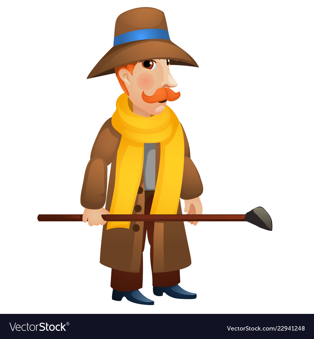 A man in a coat and hat holding a stick in his