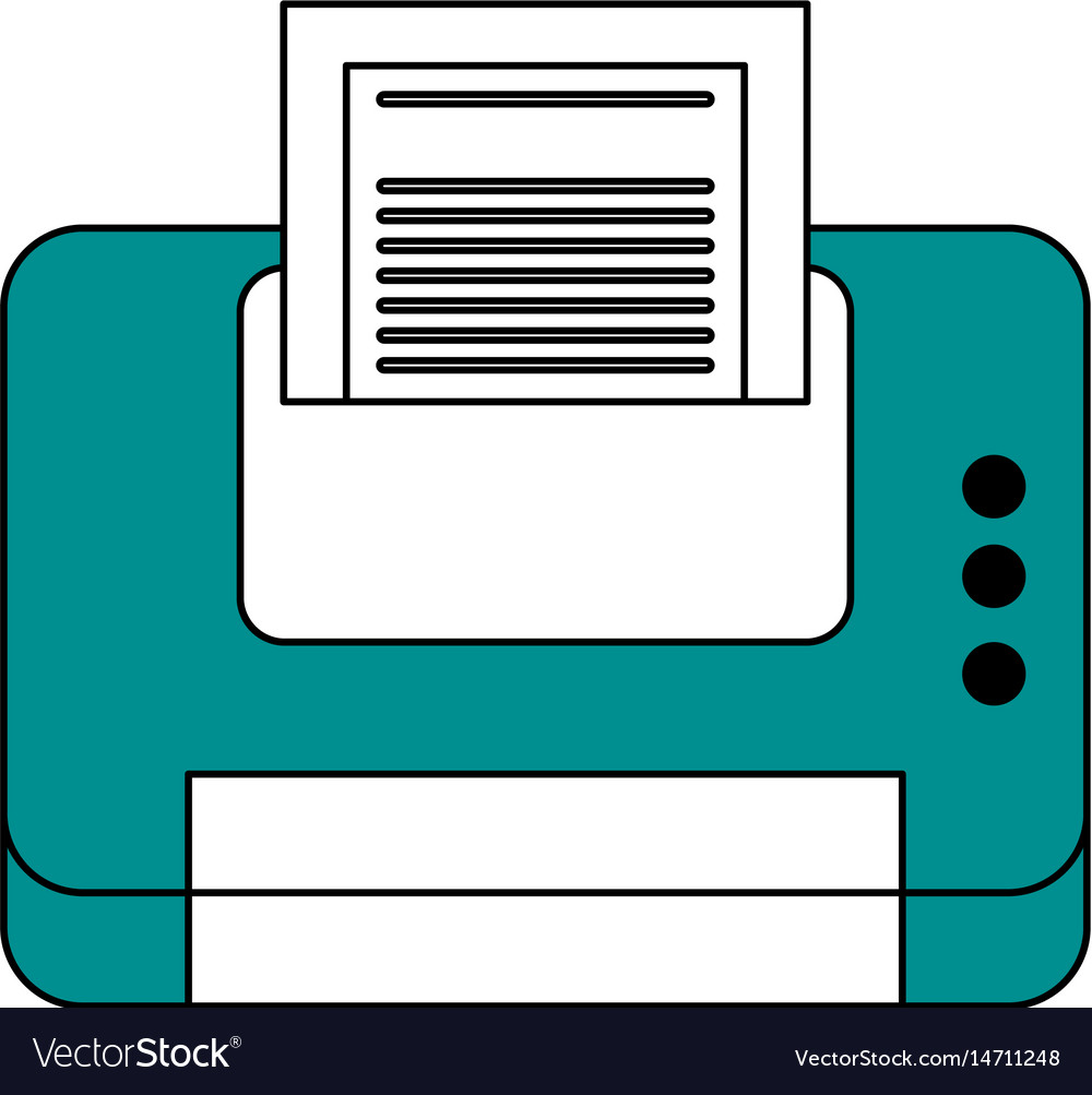 Color contour cartoon blue printer device with vector image