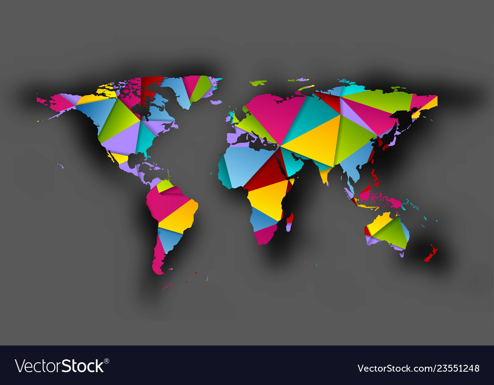 Colorful polygonal world map with shadow