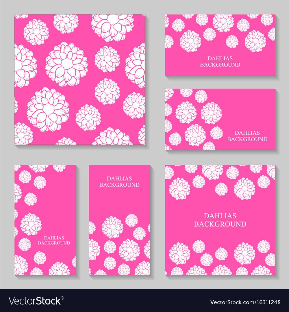 Dahlias flowers background set on pink background