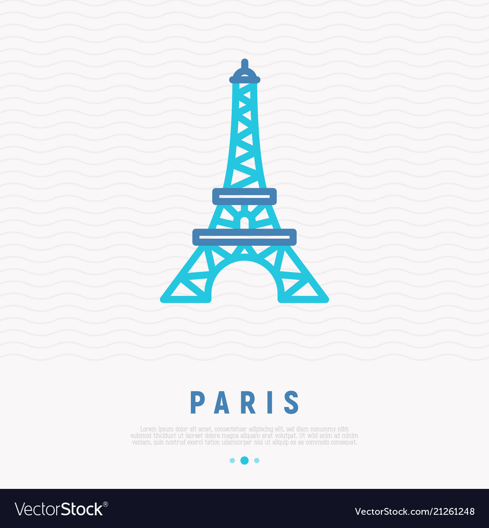 Eiffel tower thin line icon