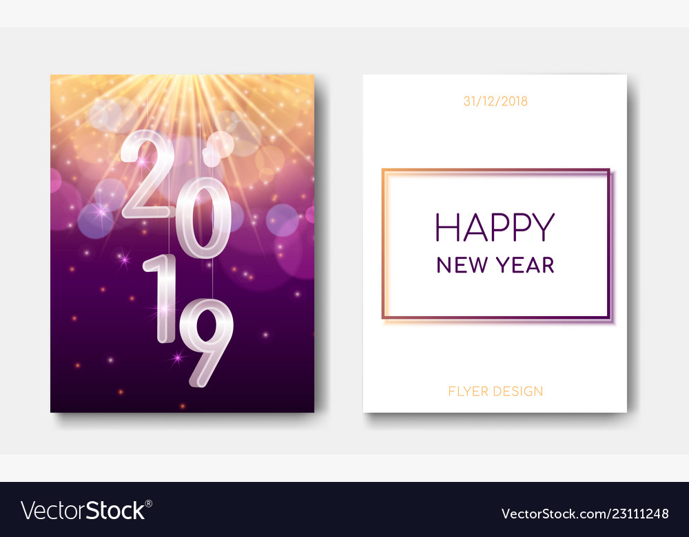 Happy New Year Night Flyers Banner With Silver 3d Vector Image