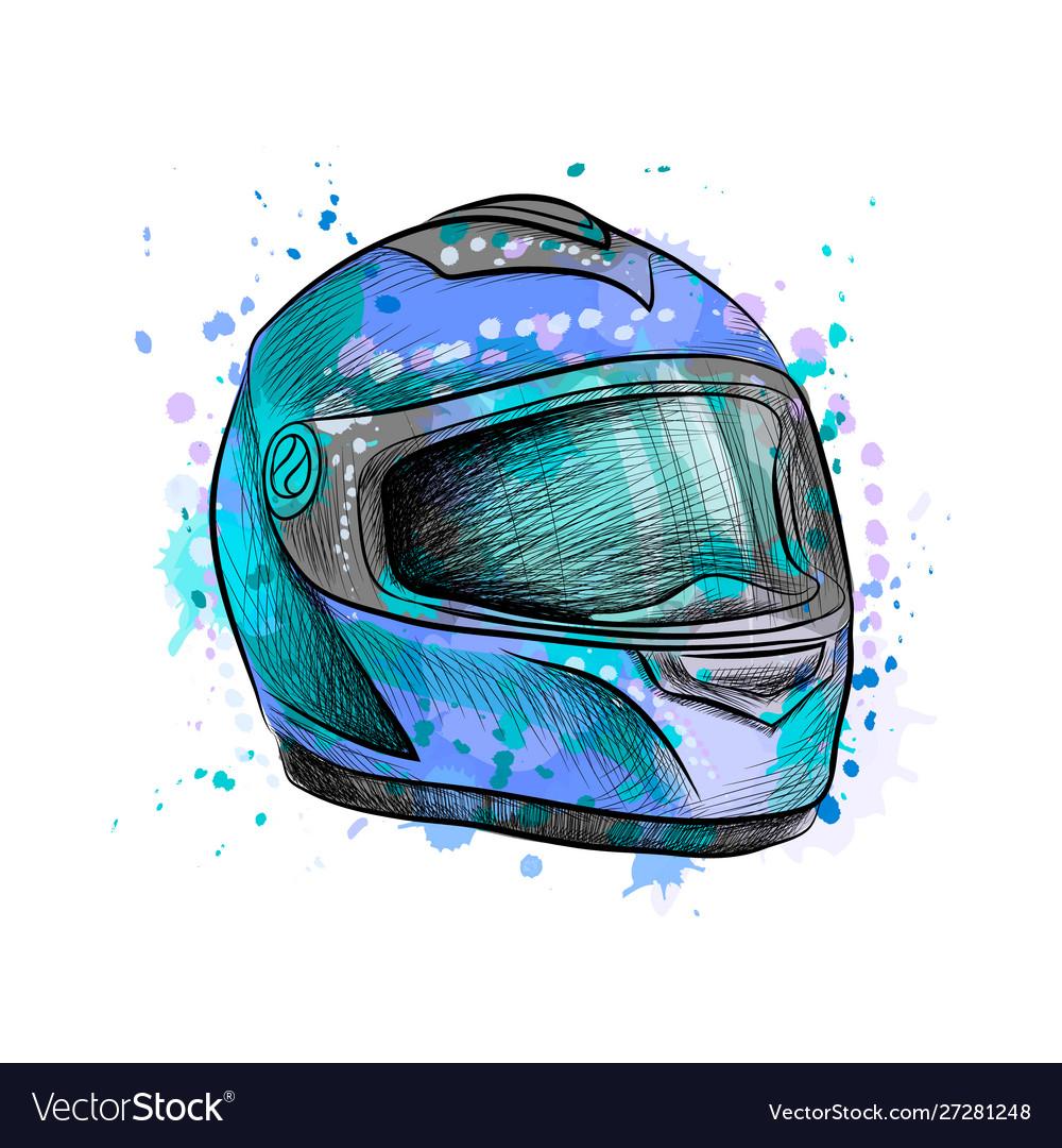 Motorcycle helmet from a splash watercolor