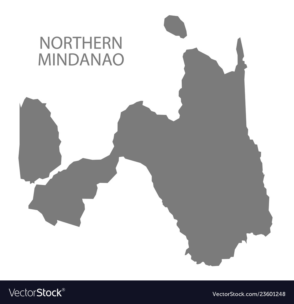 Northern Mindanao Philippines Map Grey Royalty Free Vector