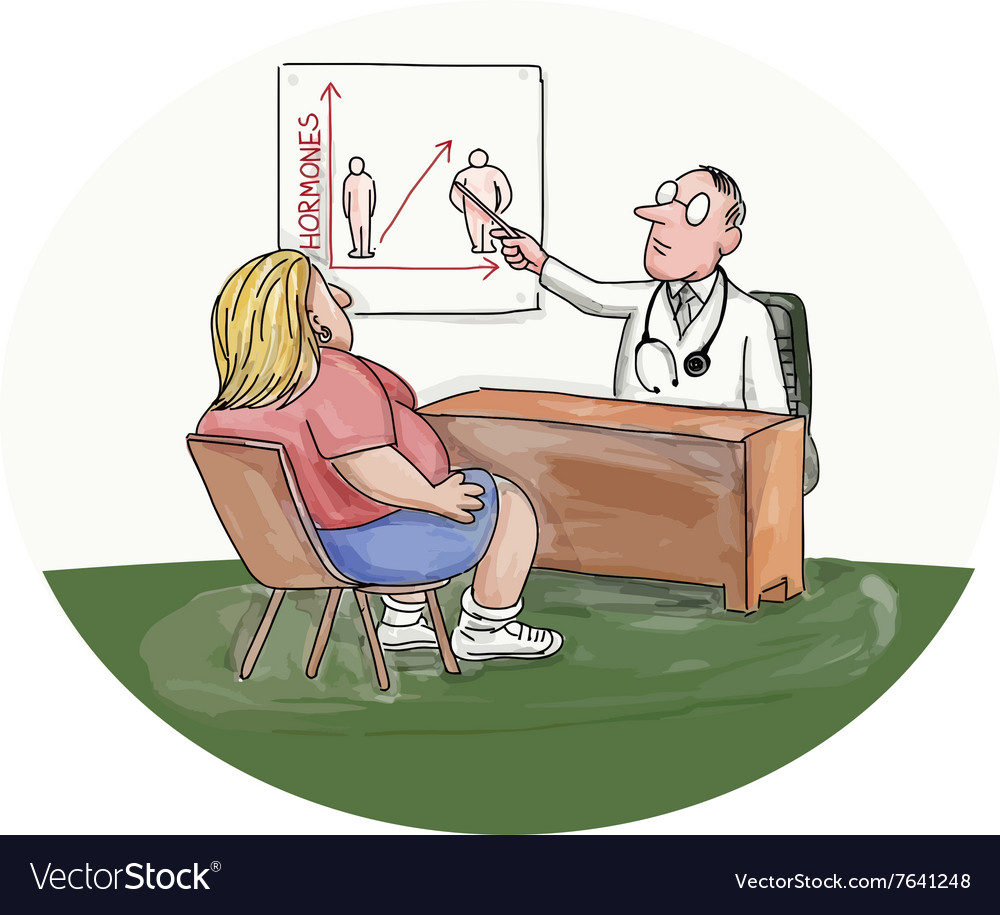 Obese Woman Patient Doctor Caricature vector image