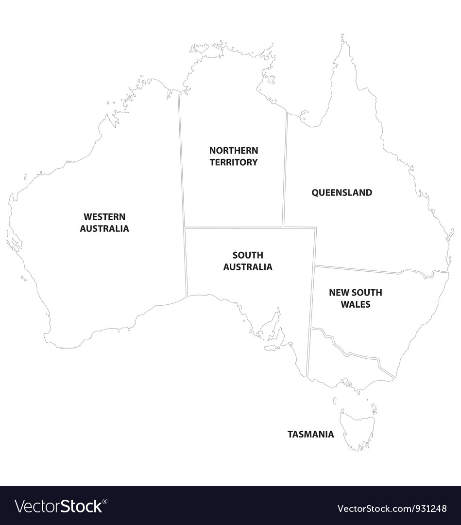Australia Map Vector Ai.Outline Map Of The States Of Australia