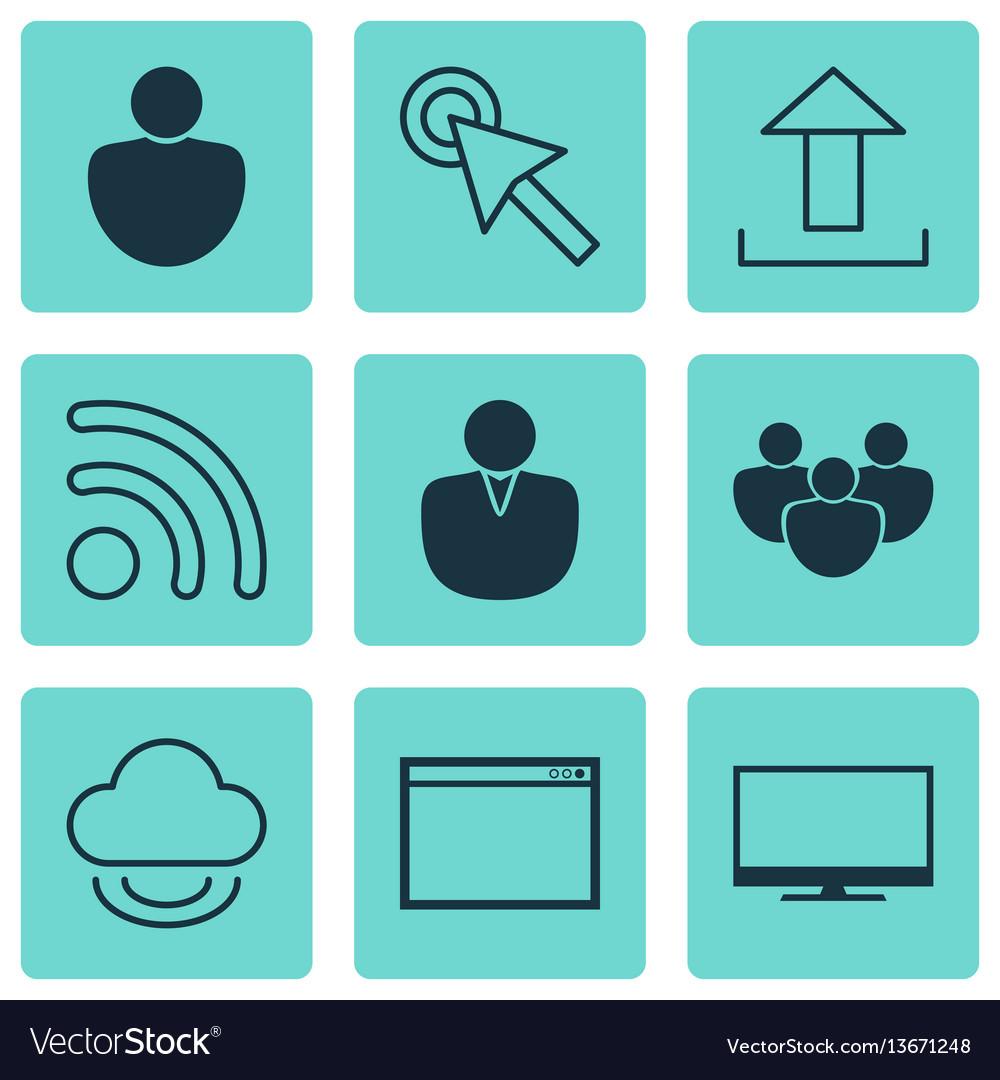 Set of 9 internet icons includes program human