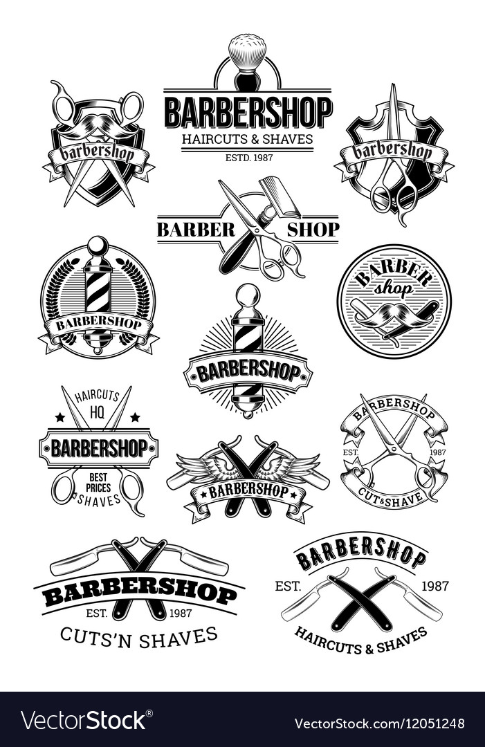 Set of barbershop logos signage