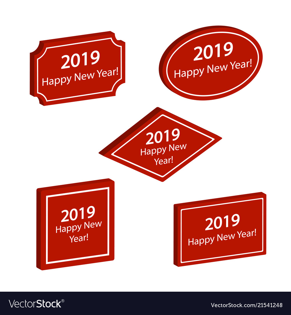 set of red labels happy new year 2019 vector image